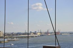 New York City Harbor view from Brooklyn Bridge over East River from New York City in United States royalty free stock photo