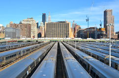 New York City Highline, New York City, USA. NEW YORK CITY - April 20, 2014: The West Side Train Yard for Pennsylvania Station in New York City from the Highline Royalty Free Stock Images