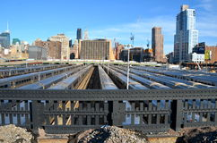 New York City Highline, New York City, USA. NEW YORK CITY - April 20, 2014: The West Side Train Yard for Pennsylvania Station in New York City from the Highline Stock Photography