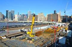 New York City from the Highline, NYC. The West Side Train Yard for Pennsylvania Station in New York City from the Highline, New York City, USA Royalty Free Stock Photos