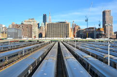 New York City from the Highline, NYC. The West Side Train Yard for Pennsylvania Station in New York City from the Highline, New York City, USA Stock Photos