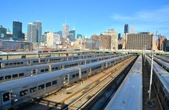 New York City from the Highline, NYC. The West Side Train Yard for Pennsylvania Station in New York City from the Highline, New York City, USA Stock Photo