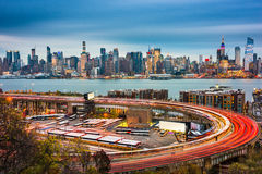 New York City and Highway Loop. New York City skyline over The Helix Loop Stock Photos