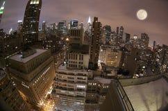 New York City horisont Fisheye Royaltyfri Bild