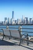 New York City horisont från Liberty State Pa Arkivfoton