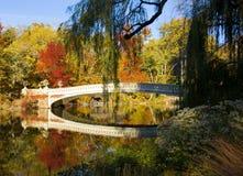 New York City horisont och Central Park i höst Fotografering för Bildbyråer