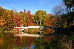 New York City horisont och Central Park i höst Arkivfoton