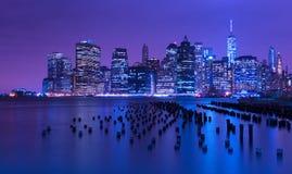 New York City horisont på natten, Manhattan, USA Royaltyfri Foto