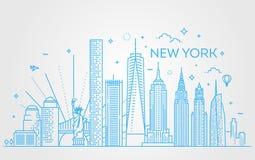 New York City horisont, vektorillustration, lägenhetdesign Royaltyfria Bilder