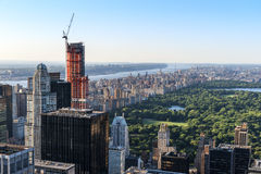 New York City Horizon as seen from the center of the city. New York City Cityscape and Horizon see from very high with skyscrapers populating the distance Royalty Free Stock Images