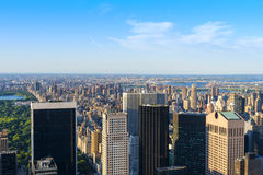 New York City Horizon as seen from the center of the city. New York City Cityscape and Horizon see from very high with skyscrapers populating the distance Stock Photo