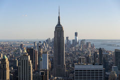 New York City Horizon as seen from the center of the city. New York City Cityscape and Horizon see from very high with skyscrapers populating the distance Stock Photos