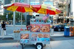 New York City Hot Dog Cart. A hot dog cart offers snacks at Columbus Circle in Manhattan Stock Photography