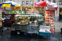 New York City Hotdog Stand Vendor Stock Photos