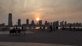New York City Hudson River Skyline Time Lapse stock footage
