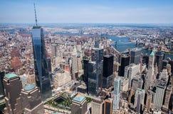 New York City - i stadens centrum Manhattan himmelsikt Fotografering för Bildbyråer