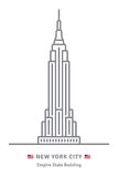 New York City icon with Empire State building and US flag. New York City line icon. Empire State building and US flag vector illustration vector illustration