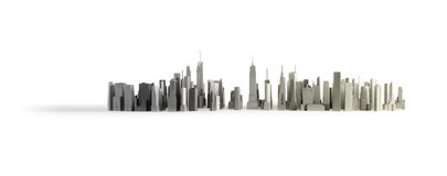 New York City Isolated. Black and white horizontal shot of a model of New York city Stock Photography