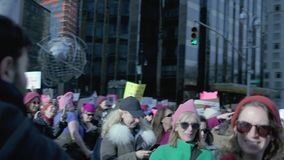 Women`s March 2018 in New York City. New York City - January 20, 2018 - people march in the 2018 Women`s March stock footage