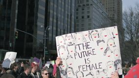 Women`s March 2018 in New York City. New York City - January 20, 2018 - people march in the 2018 Women`s March