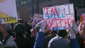 Women`s March 2018 in New York City. New York City - January 20, 2018 - people march in the 2018 Women`s March stock video footage