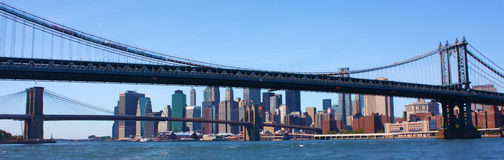 New York City jette un pont sur le panorama image libre de droits