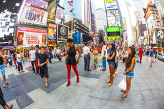 People at the famous Times Square in New York City Royalty Free Stock Images