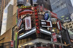 New York City, am 2. Juli: Hersey-Schokolade Shop vom Times Square in Midtown Manhattan von New York City in Vereinigten Staaten Lizenzfreie Stockfotografie