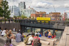 NEW YORK CITY - JULY 29,2014: People resting in High Line Park Stock Photos