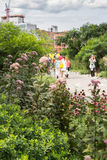 NEW YORK CITY - JULY 29,2014: People walking in High Line Park Stock Image