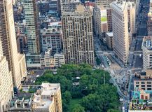 NEW YORK CITY - JUNE 9, 2013: Aerial view of Flatiron building. New York attracts 50 million tourists every year Stock Image