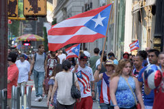 NEW YORK CITY - JUNE 14 2015: Annual Puerto Rico Day Parade filled 5th Avenue stock image