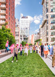 NEW YORK CITY - JUNE 15, 2013: Blurred people movement on High L Stock Photos