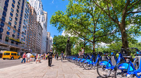 NEW YORK CITY - JUNE 2013: Citi bike station in Manhattan on Jun. E 2013. NYC bike share system started in Manhattan and Brooklyn on May 27, 2013 Stock Images