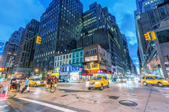 NEW YORK CITY - JUNE 8, 2013: City traffic at night. Traffic is Stock Images