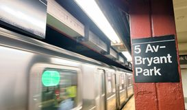 NEW YORK CITY - JUNE 8, 2013: Fifth Avenue subway station with s royalty free stock image