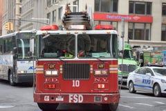 NEW YORK CITY - JUNE 12 2015: Fireman Truck going for fire Stock Photography