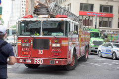 NEW YORK CITY - JUNE 12 2015: Fireman Truck going for fire Royalty Free Stock Image