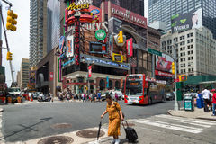 NEW YORK CITY - JUNE 15, 2015: intersection of Broadway and 48th St Royalty Free Stock Images
