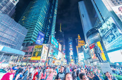 NEW YORK CITY - JUNE 9, 2013: Lights of Times Square at night. T. Imes Square is a popular tourist destination in New York City Stock Image