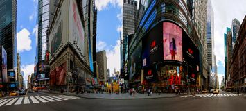 NEW YORK CITY - June 15, 2018: Panorama Times Square featured with Broadway Theaters and animated LED signs, is a symbol of New Yo stock photo