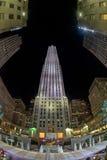 NEW YORK CITY - JUNE 13 2015: Rockfeller Center skyscraper illuminated at night Royalty Free Stock Photo