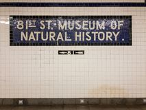 81st Street Subway - New York City. New York City - June 8, 2018: 81st Street Museum of Natural History subway station stop in New York City Stock Image