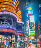 NEW YORK CITY - JUNE 2013: Times Square crowds and traffic at ni Royalty Free Stock Photography