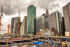 NEW YORK CITY - JUNE 13, 2013: Tourists along Pier 17 in downtow Stock Image