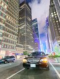 NEW YORK CITY - JUNE 8, 2013: Traffic in Midtown at night. New Y stock images
