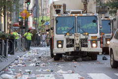 NEW YORK CITY - JUNE 14 2015: Trucks are cleaning the street after Annual Puerto Rico Day Parade Stock Photos