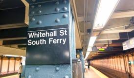 NEW YORK CITY - JUNE 8, 2013: Whitehall St - South Ferry subway Stock Photo