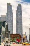 NEW YORK CITY - JUNE 13, 2013: Yellow cabs along Manhattan avenu Royalty Free Stock Photography