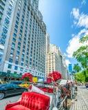 NEW YORK CITY - JUNI 2013: Hästvagnen väntar på kunder på 59 Royaltyfri Bild